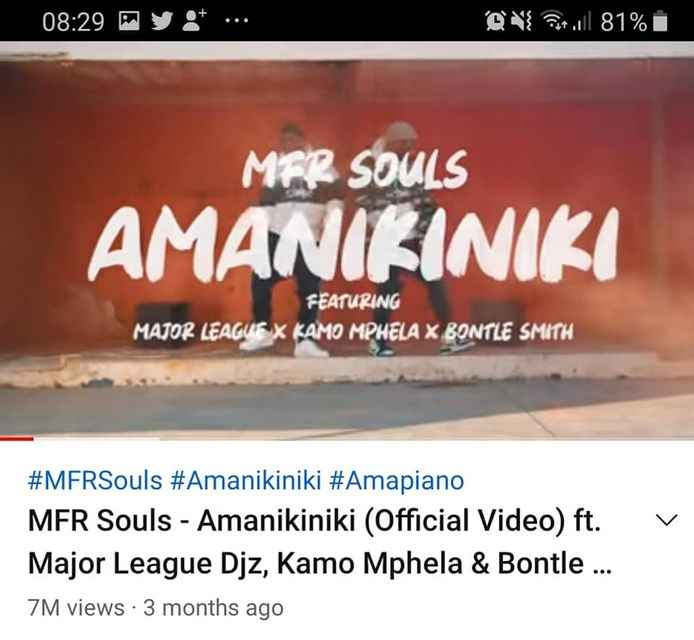 MFR Souls Amanikiniki Video Is One of The Most-Viewed Amapiano Video On YouTube, With Over 7 Million Views